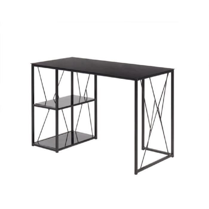 trigo bureau en m tal plateau et tag re en verre tremp noir l 110 cm achat vente bureau. Black Bedroom Furniture Sets. Home Design Ideas