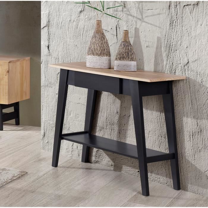 studio console 110 cm en bois massif vernis et noir achat vente console studio console. Black Bedroom Furniture Sets. Home Design Ideas