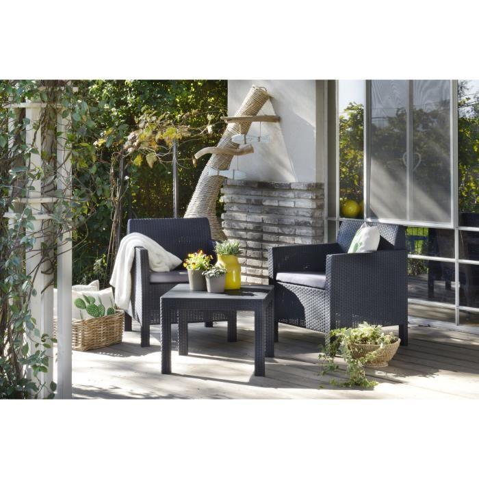 ORLANDO BALCONY Salon de jardin 2 places imitation rotin tressé - Graphite