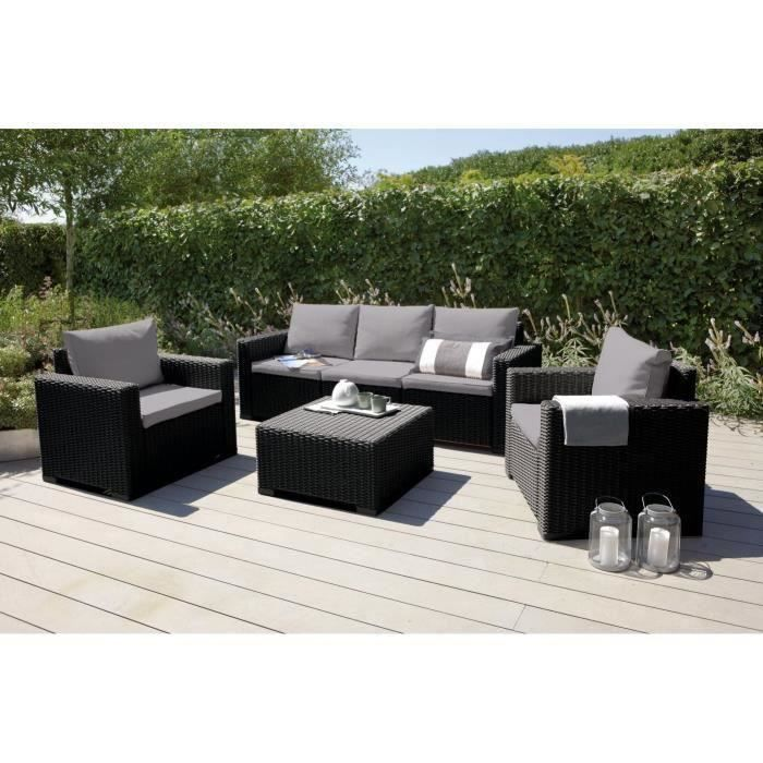 california salon de jardin 5 places en r sine aspect rotin tress gris achat vente salon. Black Bedroom Furniture Sets. Home Design Ideas