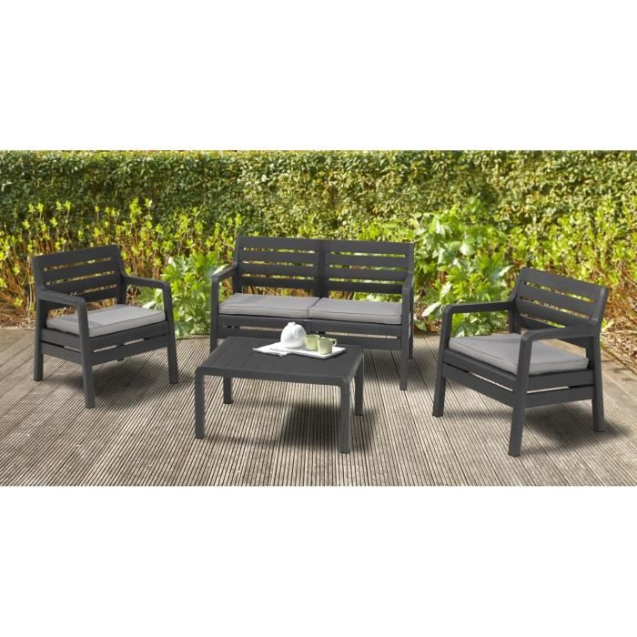 delano salon de jardin bas 4 places r sine de synth se graphite achat vente salon de jardin. Black Bedroom Furniture Sets. Home Design Ideas