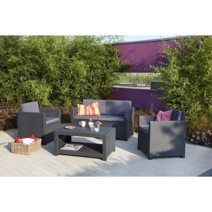 Salon de jardin aspect rotin tresse allibert