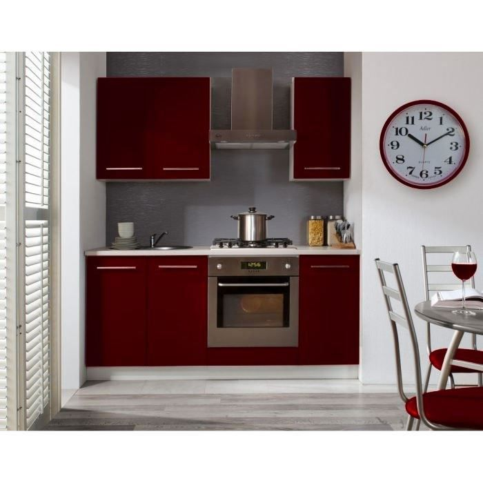 studio cuisine compl te couleur bordeaux achat vente cuisine couleur bordeaux brillant with. Black Bedroom Furniture Sets. Home Design Ideas