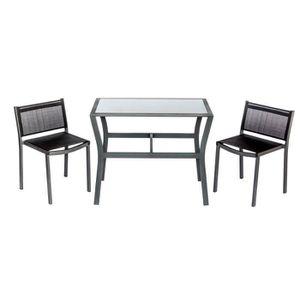 SALON DE JARDIN  BEAU RIVAGE Ensemble table et 2 chaises Linosa - N