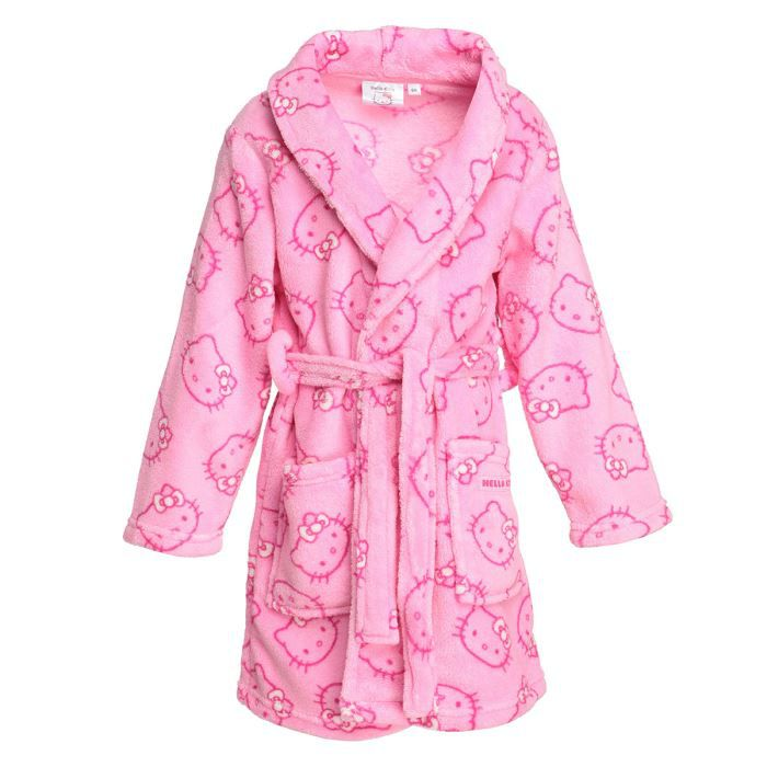 Robe de chambre manches longues hello kitty 100 polyester rose col ch le ceinture for Chambre enfant fille hello kitty