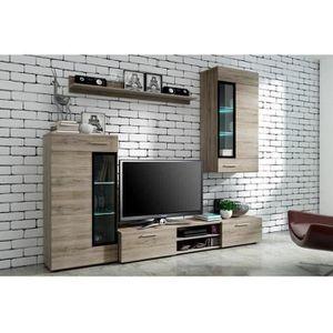 MEUBLE TV TANGO Meuble TV contemporain mélaminé décor bois -