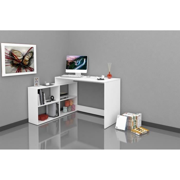 finlandek bureau d 39 angle pakko contemporain blanc mat l 112 cm achat vente bureau. Black Bedroom Furniture Sets. Home Design Ideas