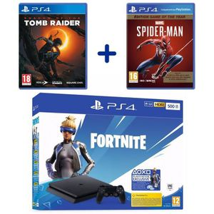 CONSOLE PS4 PS4 Slim 500 Go Noire + Marvel's Spider-Man GOTY +