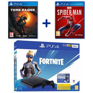 CONSOLE PS4 PS4 Slim 500 Go Noire + Marvel's Spider-Man + Shad