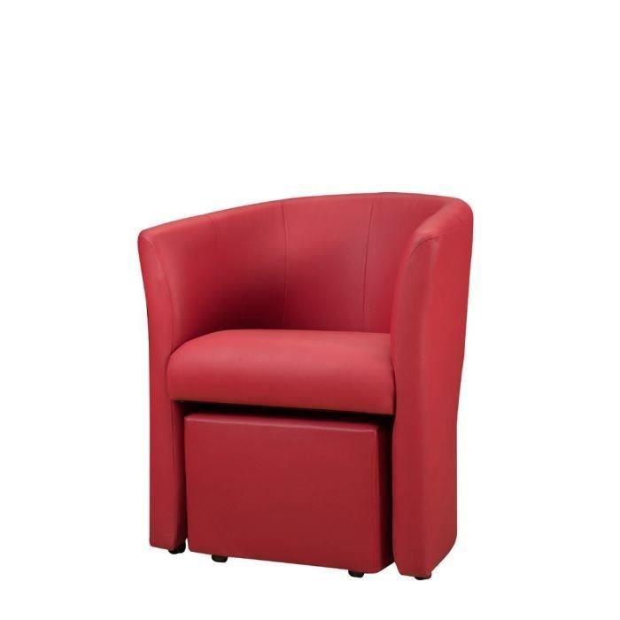 FAUTEUIL BAYA Fauteuil cabriolet + pouf - Simili rouge - L