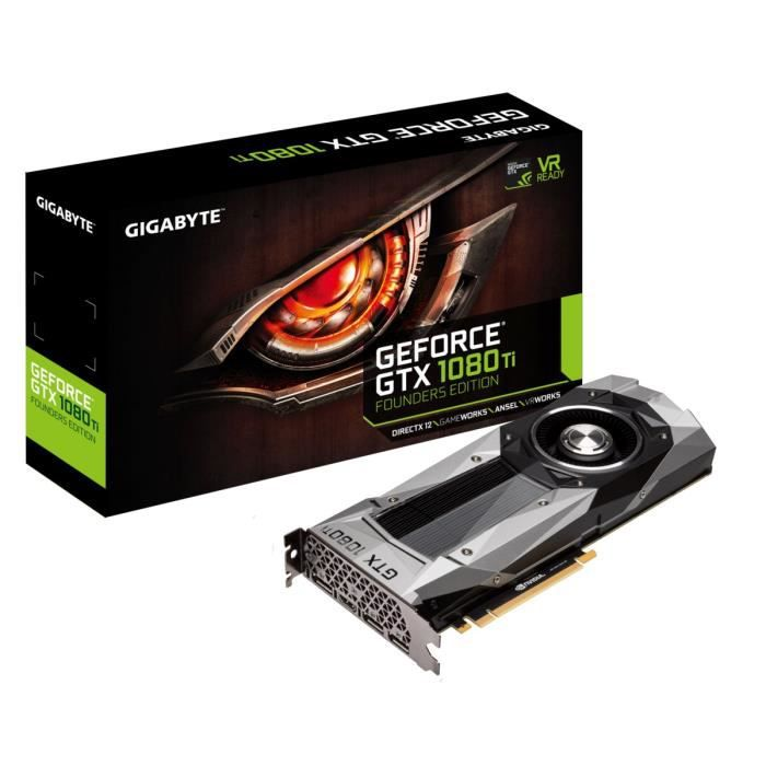 gigabyte carte graphique geforce gtx 1080 ti founders edition 11go gddr5x prix pas cher. Black Bedroom Furniture Sets. Home Design Ideas