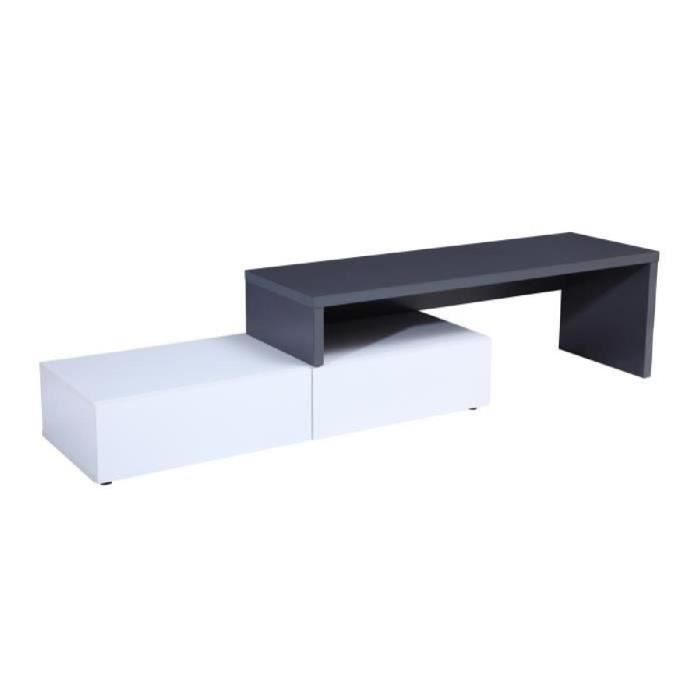 floyd meuble tv contemporain d cor gris et blanc brillant l 120 233 cm achat vente meuble. Black Bedroom Furniture Sets. Home Design Ideas