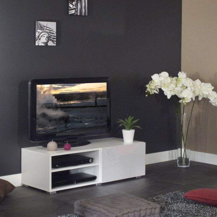 Mango banc tv 96cm 2 niches 1 tiroir achat vente for Meuble tv de 100 cm
