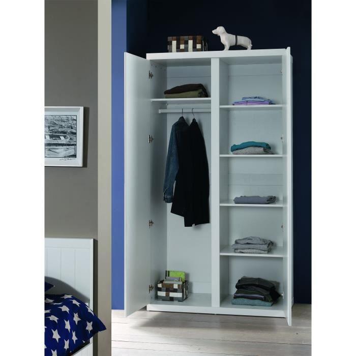 ARMOIRE DE CHAMBRE LARA Etagères pour armoire coloris blanc