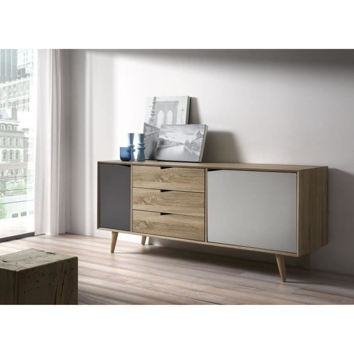 svenska bahut scandinave pieds en bois massif gris bois et blanc l 149 cm achat vente. Black Bedroom Furniture Sets. Home Design Ideas
