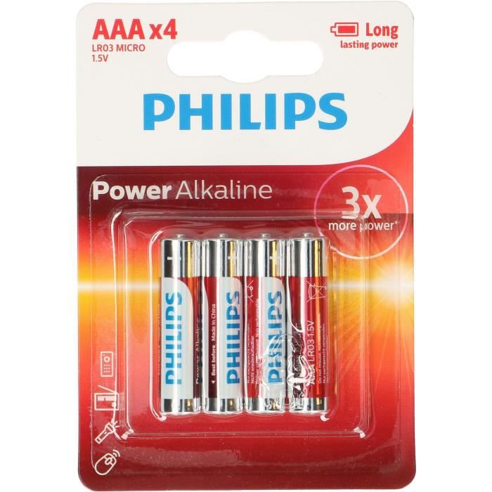 philips 4 piles aaa powerlife alkaline battery achat. Black Bedroom Furniture Sets. Home Design Ideas
