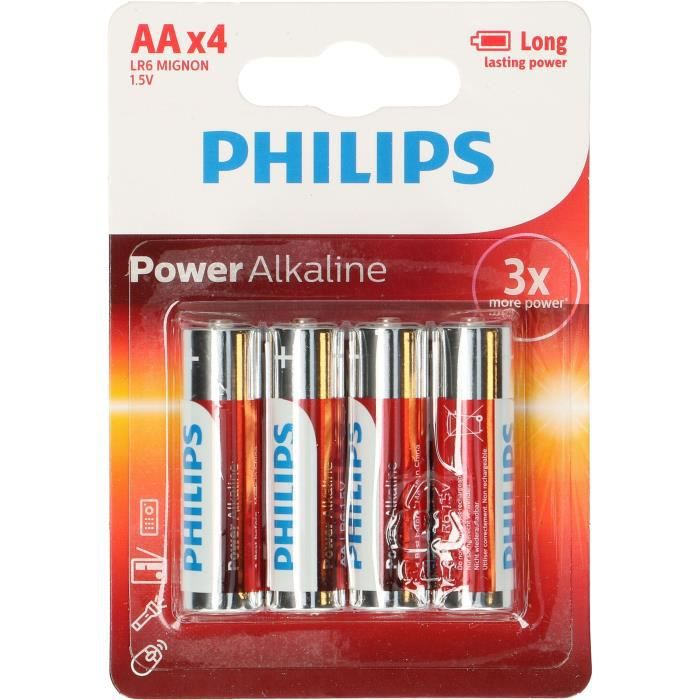 PILES PHILIPS 4 Piles AA PowerLife Battery