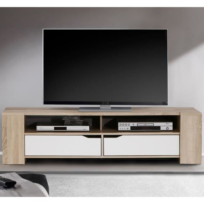 sielo meuble tv 155 cm ch ne et blanc brillant achat vente meuble tv sielo meuble tv bois. Black Bedroom Furniture Sets. Home Design Ideas