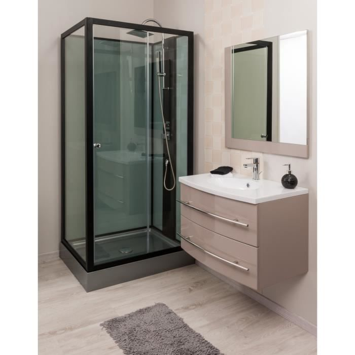 lea ensemble meuble de salle de bain 80cm gris achat vente meuble vasque plan lea meuble. Black Bedroom Furniture Sets. Home Design Ideas