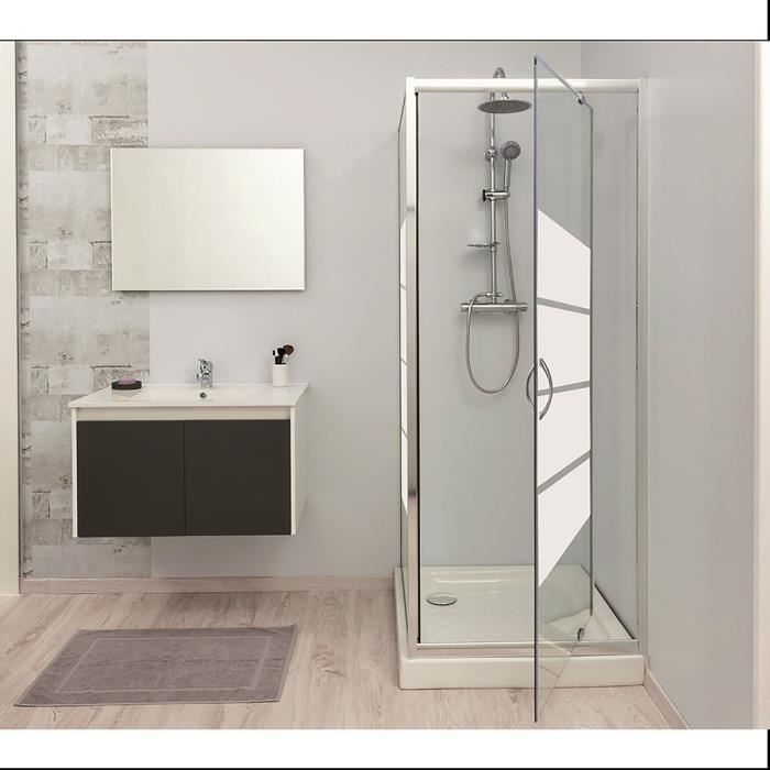 porte de douche pivotante 80cm 5mm lucy blanc achat. Black Bedroom Furniture Sets. Home Design Ideas