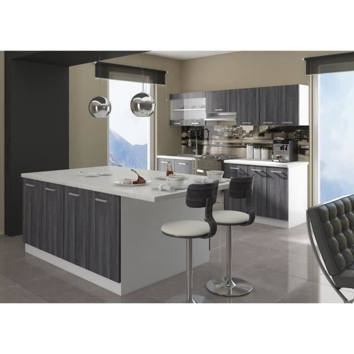 ultra cuisine compl te avec lot d cor ch ne gris et. Black Bedroom Furniture Sets. Home Design Ideas