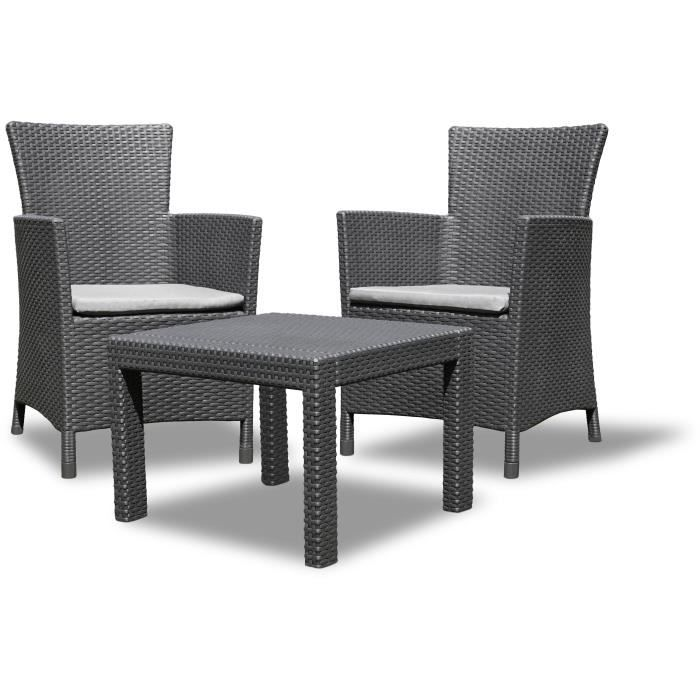 rosario salon de jardin 2 places aspect rotin tress gris achat vente salon de jardin. Black Bedroom Furniture Sets. Home Design Ideas
