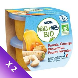 PLATS CUISINÉS NESTLE Lot de 2 Naturnes BIO Panais, courge butter