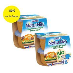 PLATS CUISINÉS NESTLE Lot de 2 Naturnes BIO Légumes pâtes bœuf 2X