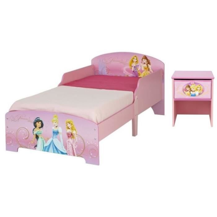 Disney princesses lit enfant et table de chevet 70 x 140 - Lit et table de chevet ...
