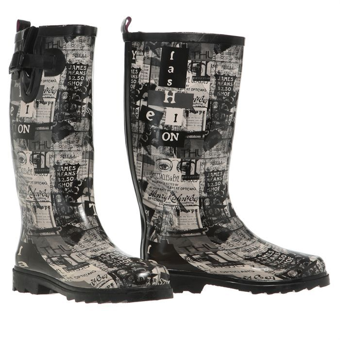 jardy bottes de pluie newspaper femme femme gris noir blanc achat vente jardy newspaper. Black Bedroom Furniture Sets. Home Design Ideas