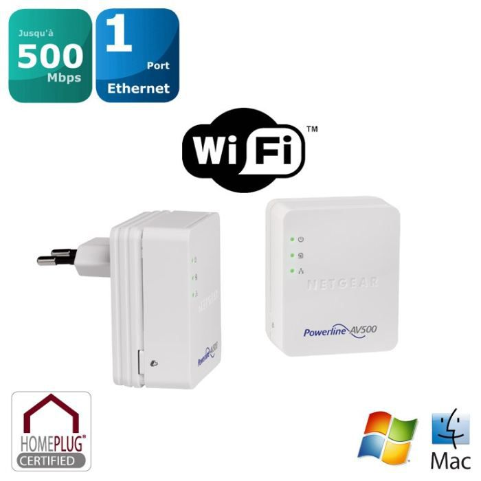 netgear kit 2 cpl wifi 500mbps xwnb5201 prix pas cher cdiscount. Black Bedroom Furniture Sets. Home Design Ideas