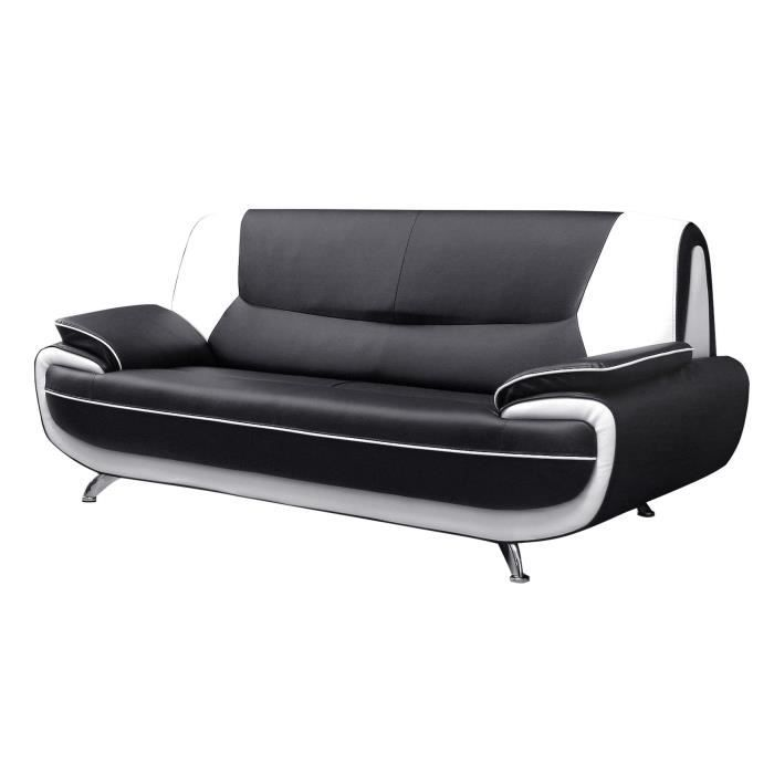 spacio canap droit 3 places noir et blanc achat vente canap sofa divan pvc panneaux. Black Bedroom Furniture Sets. Home Design Ideas