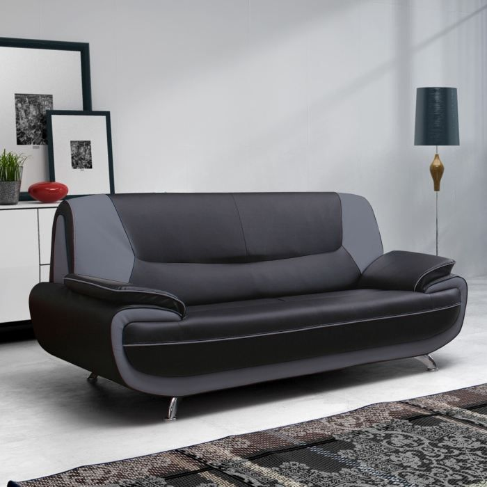 spacio canap fixe simili 3 places 121x56x43cm noir et gris achat vente canap sofa. Black Bedroom Furniture Sets. Home Design Ideas