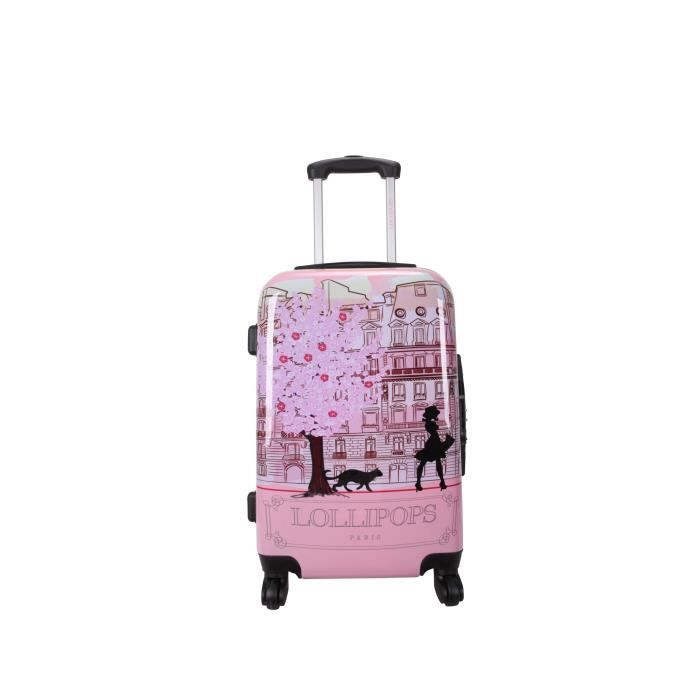lollipops valise trolley rigide abs polycarbonate 4 roues 75cm rose rose achat vente. Black Bedroom Furniture Sets. Home Design Ideas