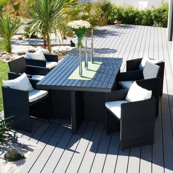 Salon encastrable 6 places plateau composite noir achat vente salon de ja - Salon jardin composite ...