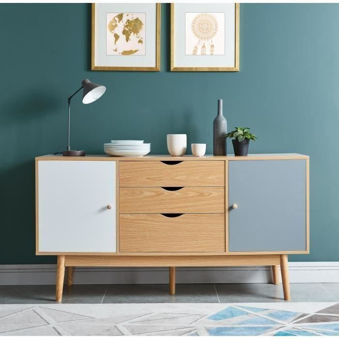 poppy buffet scandinave m lamin d cor ch ne mat pi tement en h v a massif l 140 cm achat. Black Bedroom Furniture Sets. Home Design Ideas