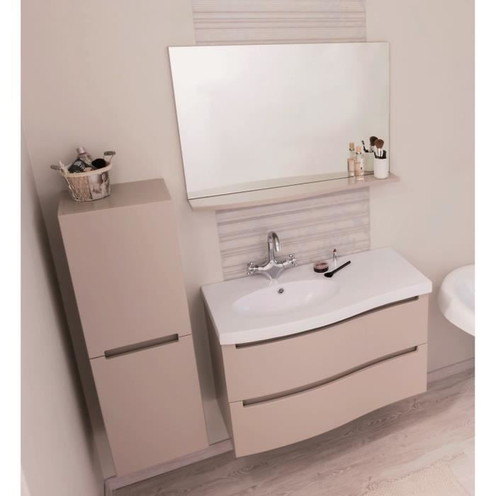 italo salle de bain compl te simple vasque l 91 cm taupe et beige laqu achat vente salle. Black Bedroom Furniture Sets. Home Design Ideas