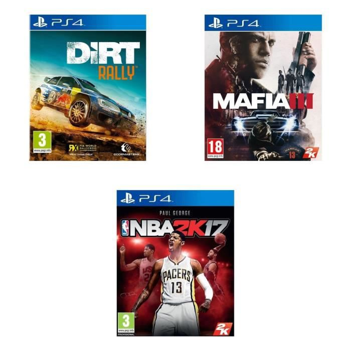 pack de 3 jeux ps4 dirt rally mafia iii nba 2k17 achat vente jeu ps4 3 jeux ps4 dirt. Black Bedroom Furniture Sets. Home Design Ideas