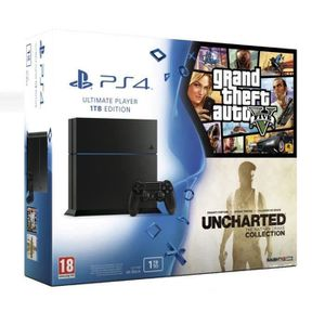 PS4 1 To + GTA V + Uncharted The Nathan Drake Collection + Abonnement Playstation Plus12 Mois
