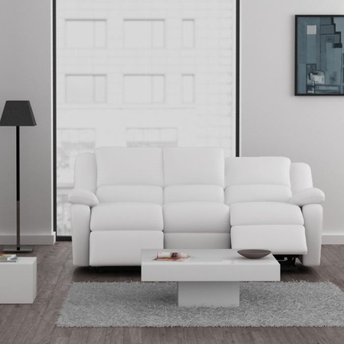 relax canap relaxation simili 3 places 192x92x93 cm blanc achat vente canap sofa. Black Bedroom Furniture Sets. Home Design Ideas