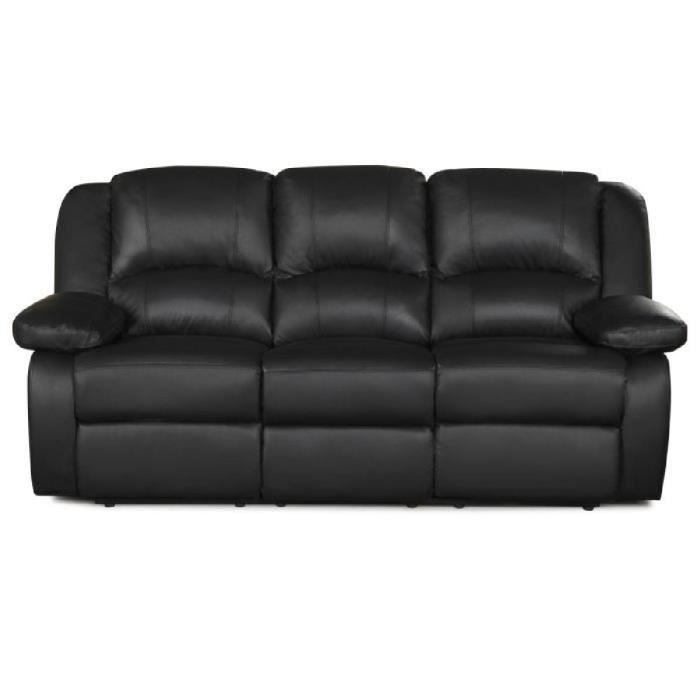 relax canap 3 places relaxation cuir et simili noir achat vente canap sofa divan bois. Black Bedroom Furniture Sets. Home Design Ideas