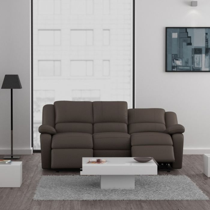 relax canap 3 places relaxation pu cuir taupe achat vente canap sofa divan soldes. Black Bedroom Furniture Sets. Home Design Ideas