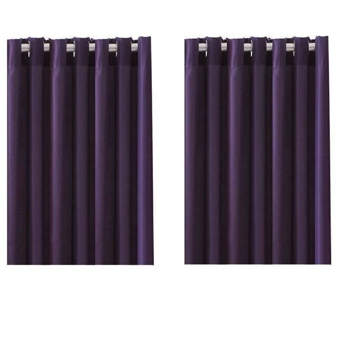 paire de rideaux occultants illets 140x260 violet achat vente rideau 100 polyester. Black Bedroom Furniture Sets. Home Design Ideas