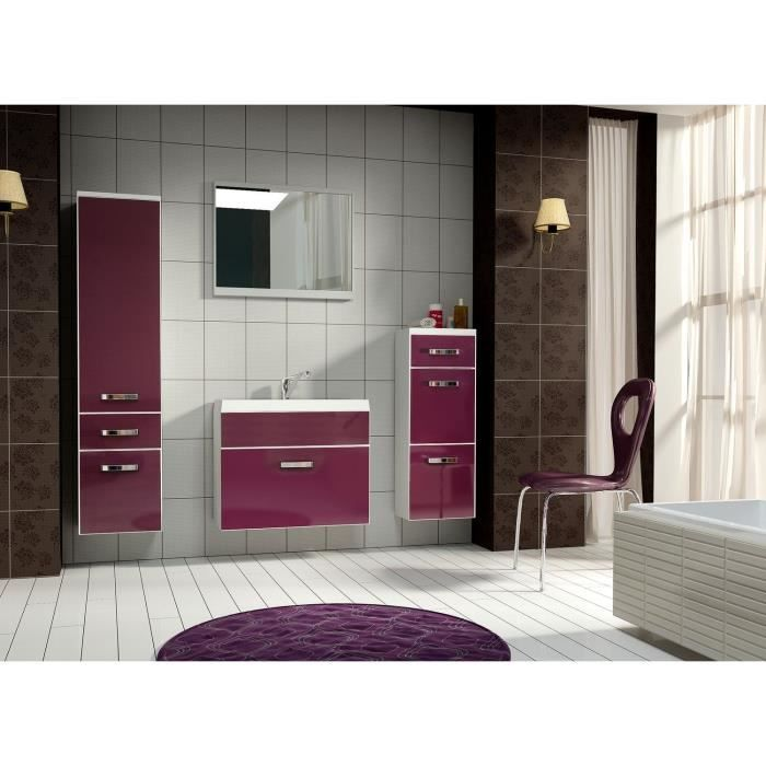 bali salle de bain compl te simple vasque 60 cm aubergine achat vente salle de bain. Black Bedroom Furniture Sets. Home Design Ideas