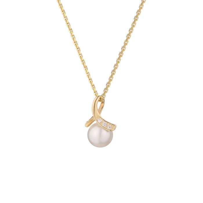 collier femme perle or