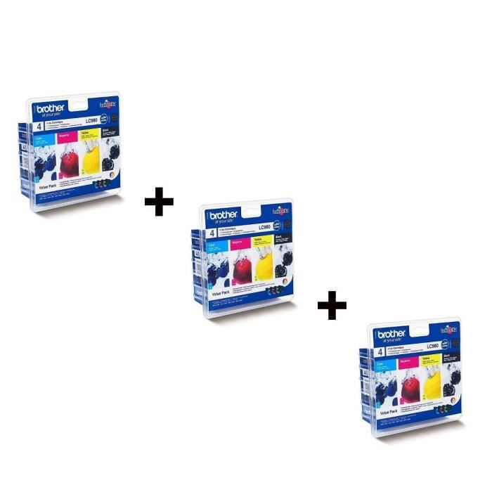 CARTOUCHE IMPRIMANTE Brother LC980 Cartouches d'encre Multipack Coul...