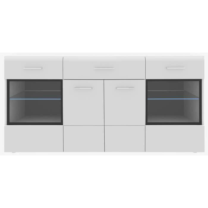 Slate buffet contemporain blanc brillant l 170 cm for Buffet salon blanc