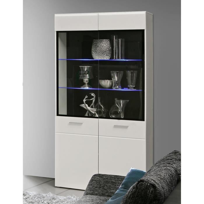 slate vitrine led 100 cm blanc brillant noir achat vente vitrine argentier slate vitrine. Black Bedroom Furniture Sets. Home Design Ideas