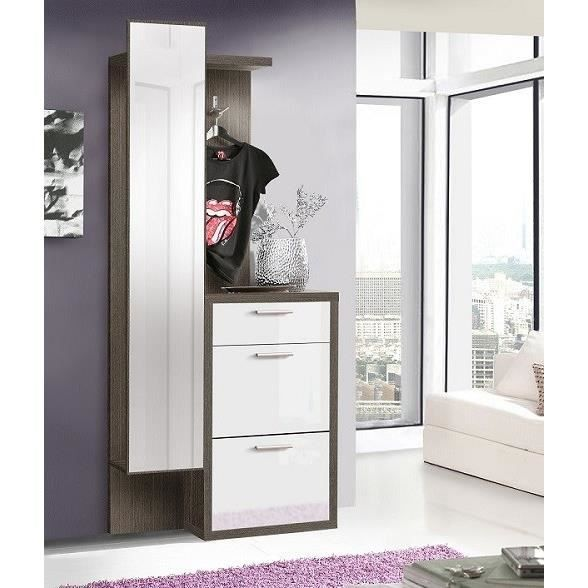 oslo vestiaire 86 cm d cor ch ne cendr et blanc brillant. Black Bedroom Furniture Sets. Home Design Ideas