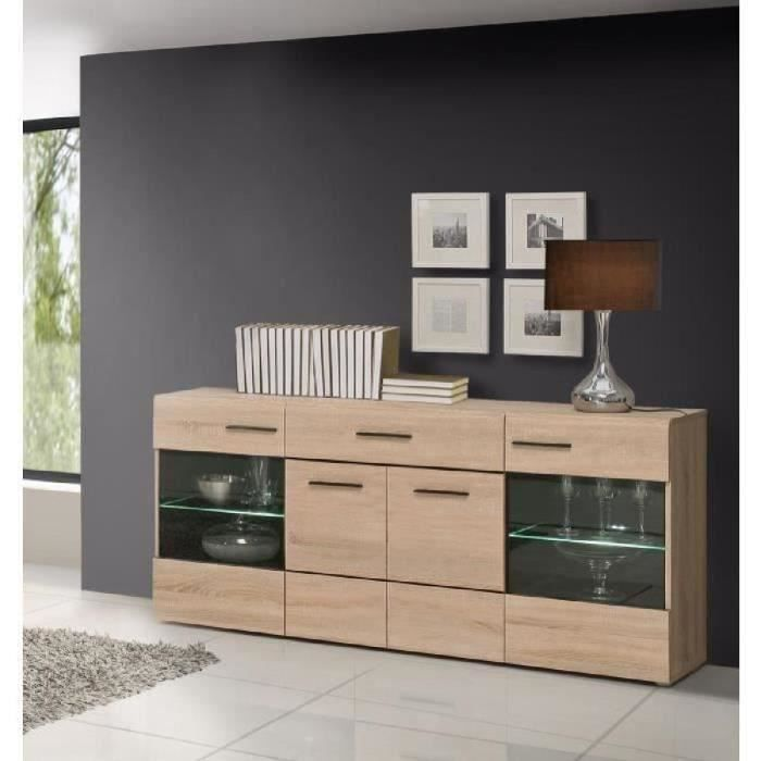 combino buffet contemporain en bois agglom r d cor ch ne et weng l 170 cm achat vente. Black Bedroom Furniture Sets. Home Design Ideas